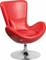 Red Leather Egg Series Reception-Lounge-Side Chair [CH-162430-RED-LEA-GG]