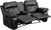 Reel Comfort Series 2-Seat Reclining Black Leather Theater Seating Unit with Curved Cup Holders [BT-70530-2-BK-CV-GG]
