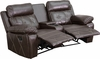 Reel Comfort Series 2-Seat Reclining Brown Leather Theater Seating Unit with Curved Cup Holders [BT-70530-2-BRN-CV-GG]