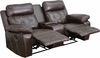 Reel Comfort Series 2-Seat Reclining Brown Leather Theater Seating Unit with Straight Cup Holders [BT-70530-2-BRN-GG]