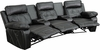 Reel Comfort Series 3-Seat Reclining Black Leather Theater Seating Unit with Curved Cup Holders [BT-70530-3-BK-CV-GG]