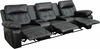 Reel Comfort Series 3-Seat Reclining Black Leather Theater Seating Unit with Straight Cup Holders [BT-70530-3-BK-GG]
