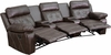 Reel Comfort Series 3-Seat Reclining Brown Leather Theater Seating Unit with Curved Cup Holders [BT-70530-3-BRN-CV-GG]