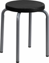Stool with Black Seat and Silver Powder Coated Frame [YK01B-GG]