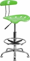 Vibrant Apple Green and Chrome Drafting Stool with Tractor Seat [LF-215-APPLEGREEN-GG]