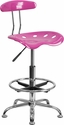 Vibrant Candy Heart and Chrome Drafting Stool with Tractor Seat [LF-215-CANDYHEART-GG]