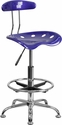 Vibrant Deep Blue and Chrome Drafting Stool with Tractor Seat [LF-215-DEEPBLUE-GG]