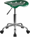 Vibrant Green Tractor Seat and Chrome Stool [LF-214A-GREEN-GG]