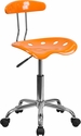 Vibrant Orange and Chrome Task Chair with Tractor Seat [LF-214-ORANGEYELLOW-GG]