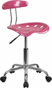 Vibrant Pink and Chrome Swivel Task Chair with Tractor Seat [LF-214-PINK-GG]