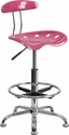 Vibrant Pink and Chrome Drafting Stool with Tractor Seat [LF-215-PINK-GG]
