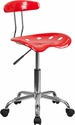 Vibrant Red and Chrome Task Chair with Tractor Seat [LF-214-RED-GG]