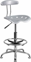 Vibrant Silver and Chrome Drafting Stool with Tractor Seat [LF-215-SILVER-GG]