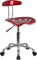 Vibrant Wine Red and Chrome Task Chair with Tractor Seat [LF-214-WINERED-GG]