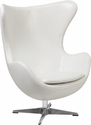 White Leather Egg Chair with Tilt-Lock Mechanism [ZB-10-GG]