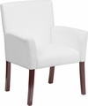 White Leather Executive Side Chair or Reception Chair with Mahogany Legs [BT-353-WH-GG]