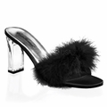 3 1/4'' Square Heel Marabou Slipper