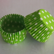LIME GREEN POLKA DOT CUPCAKE LINER