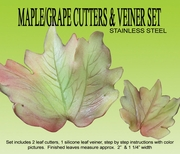 "MAPLE / GRAPE LEAF GUMPASTE CUTTER SET <font color = ""red""> NOW IN STAINLESS STEEL </FONT>"