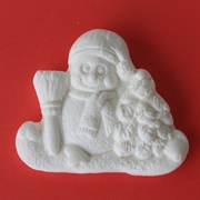 SNOWMAN WITH BROOM SILICONE MOLD
