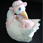 STORK WITH BABY CAKE TOPPER