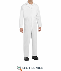 CT16WH White Twill Action Back Coverall - No Breast Pocket