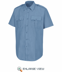 HS1210 Men's New Dimension® Stretch Poplin Light Blue Short Sleeve Shirt