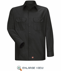 Men's Black Solid Ripstop Work Shirt - Long Sleeve