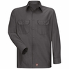 Men's Charcoal Solid Ripstop Work Shirt - Long Sleeve