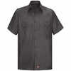 Men's Charcoal Solid Ripstop Work Shirt - Short Sleeve