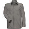 Men's Grey Solid Ripstop Work Shirt - Long Sleeve