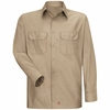 Men's Khaki Solid Ripstop Work Shirt - Long Sleeve