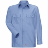 Men's Light Blue Solid Ripstop Work Shirt - Long Sleeve