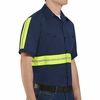 Red Kap SC40EN Men's Enhanced Visibility Short Sleeve Cotton Work Shirt - Navy