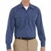 SP10IC Long Sleeve Blue with Brown/White  Stripe Industrial  Work Shirt
