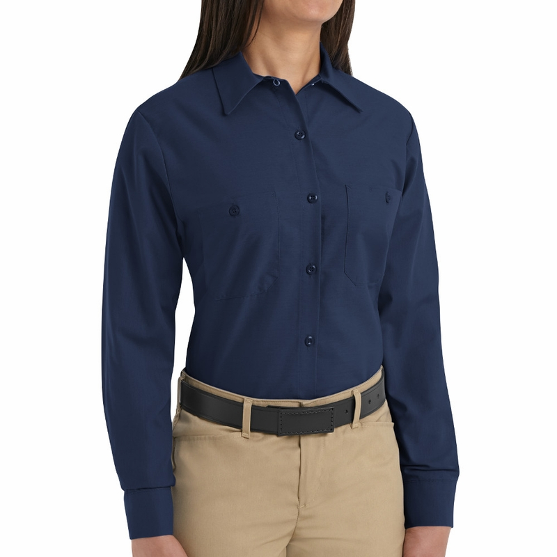SP13NV Women's Solid Navy Long Sleeve Industrial Work Shirt