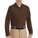 SP14CB Men's Chocolate Brown Long Sleeve Industrial Work Shirt