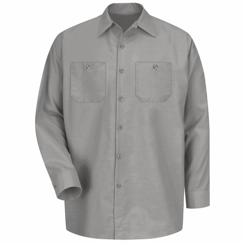 Men's Light Grey Long Sleeve Industrial Work Shirt