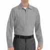 SP14LA Men's Light Grey Long Sleeve Industrial Work Shirt