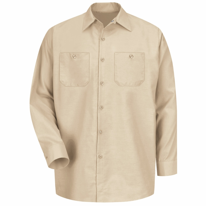 Men's Light Tan Long Sleeve Industrial Work Shirt