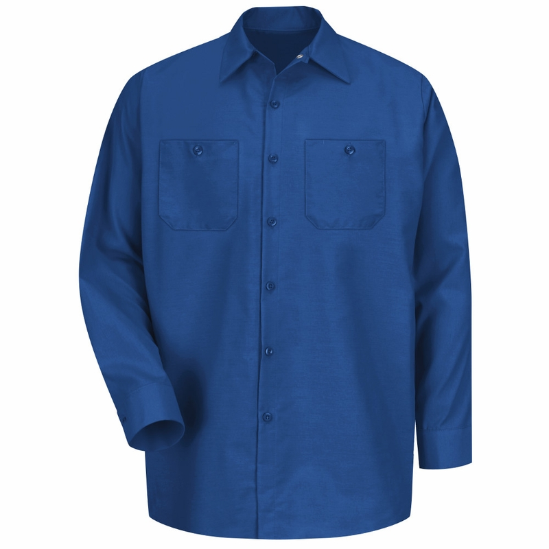 Men's Royal Blue Long Sleeve Industrial Work Shirt
