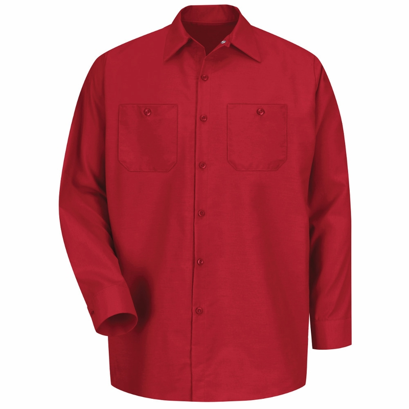 Men's Red Long Sleeve Industrial Work Shirt