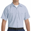 SP20BB Short Sleeve Light Blue/Navy Stripe Industrial  Work Shirt