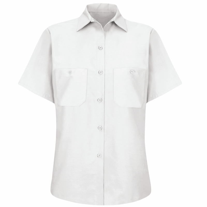 These affordably priced ladies' short-sleeve oxford shirts are made of a wrinkle-resistant cotton/poly blend fabric with extra soil-release protection for good looks and durability. Choose a white or light gray short-sleeve women's shirt style, or decide on a bolder color or striped pattern.