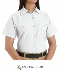 SP23WH Women's Solid White Short Sleeve Industrial Work Shirt