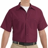 SP24BY Men's Burgundy Short Sleeve Industrial Work Shirt