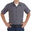 SP24KN Short Sleeve Navy/Khaki Stripe Industrial  Work Shirt