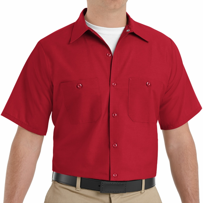 SP24RD Men's Red Short Sleeve Industrial Work Shirt
