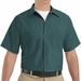 SP24SG  Men's Spruce Green Short Sleeve Industrial Work Shirt
