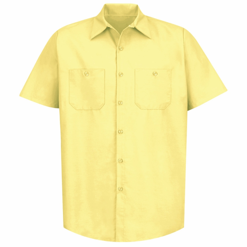Oxford Blouse 60/40 poly-cotton oxford blouse, button front, wrinkle resistant, pocket on left chest, button-down collar Colors / Plaids: White, Yellow.